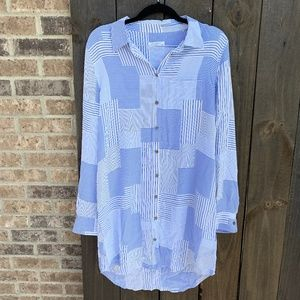 Equipment Femme Blue Stripes Silk Button Down Med